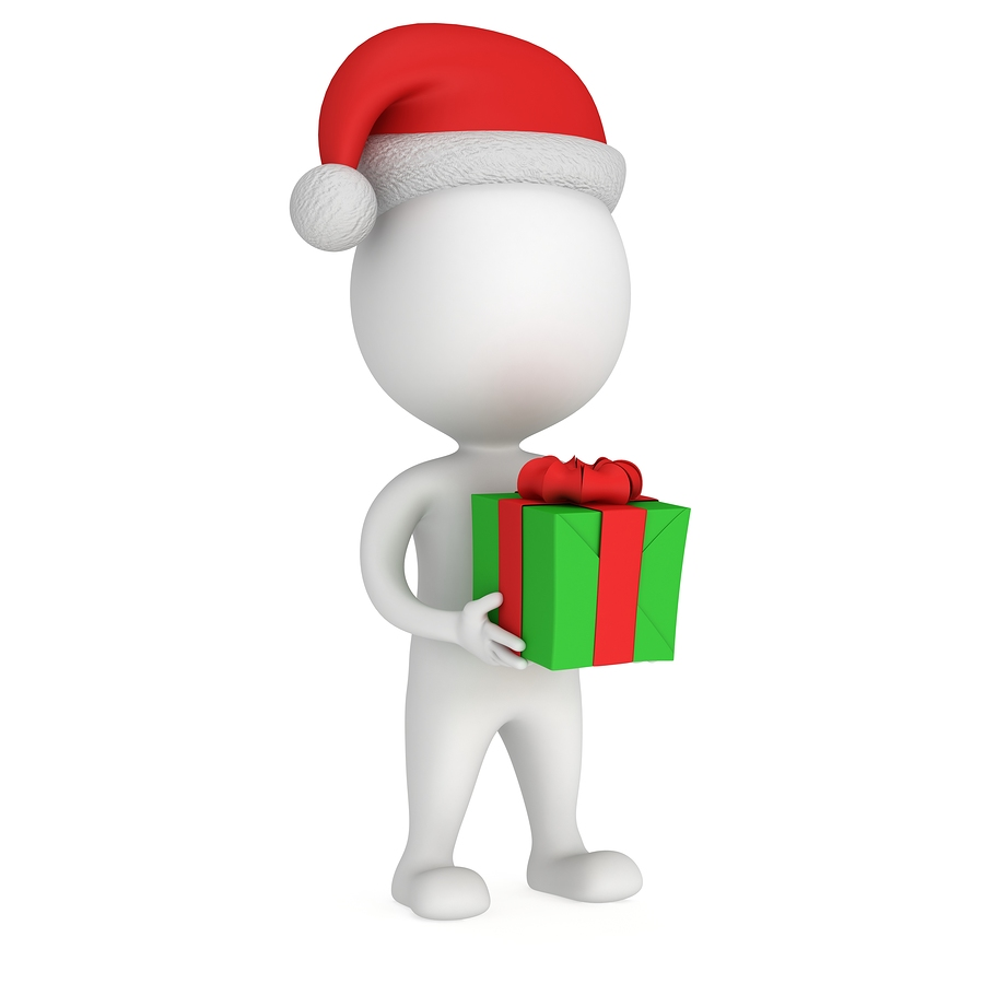 3D White Santa Claus Cap With Gift Box.