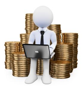 businessperson guarding hard-earned money