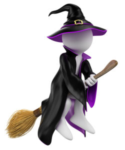 3d witch on broomstick